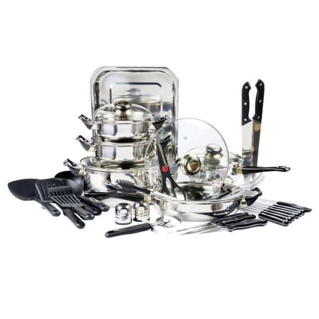 MARQUE GENERIQUE Batterie de cuisine - 42 pièces - Inox - 10372