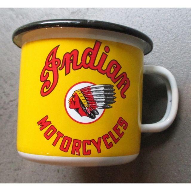 Universel Mug indian motorcycle en email tasse à café emaillée jaune