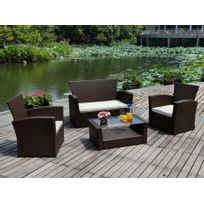 Salon de jardin Arequipa en resine tressée chocolat et verre trempé : un canapé 2 places, 2 fauteuils et une table basse - assise beige