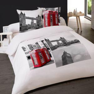 dourev housse de couette 200x200cm et 2 taies london phone 100 coton pas cher achat vente. Black Bedroom Furniture Sets. Home Design Ideas
