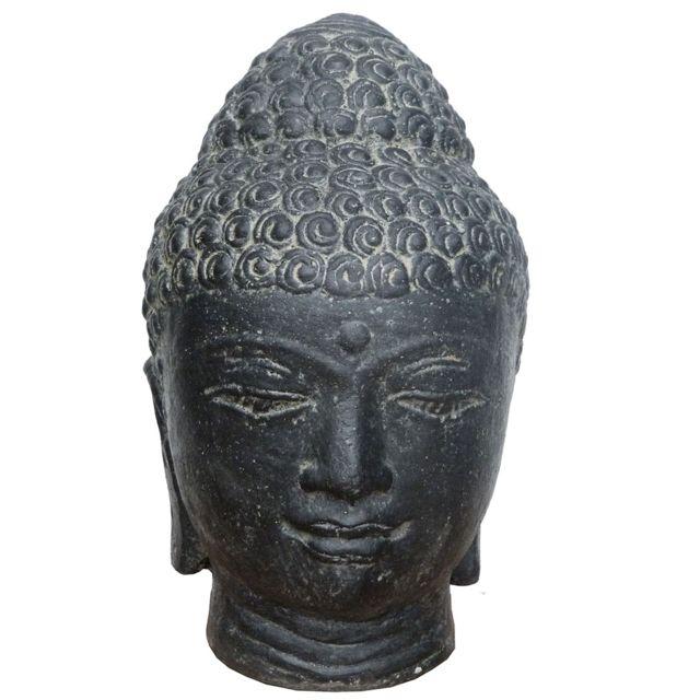 les animaux de la fee statue t te de bouddha 25 cm pierre reconstitu e black antique pas. Black Bedroom Furniture Sets. Home Design Ideas