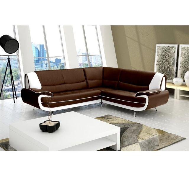 CHLOE DESIGN Canapé d'angle moderne jana - Angle droit - chocolat et blanc