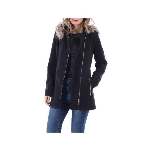 La Modeuse - Manteau à fermeture zip dorée noir - pas cher Achat ... 743266fa5180