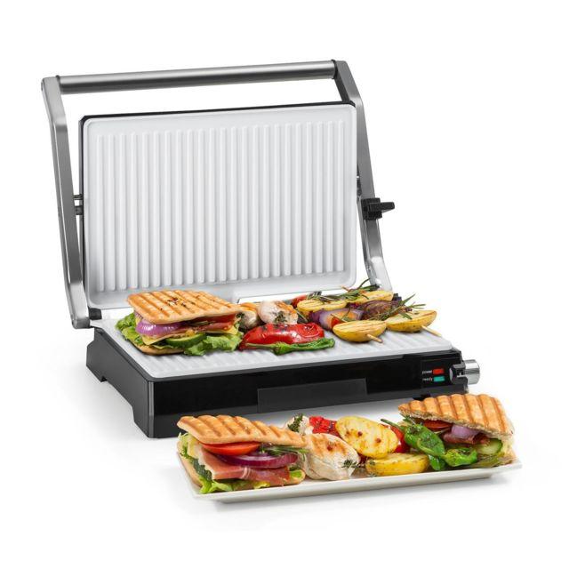 KLARSTEIN Buffalo Grill contact / presse à paninis 2000W - Revêtement anti-adhésif - Acier inoxydable - Argent & noir