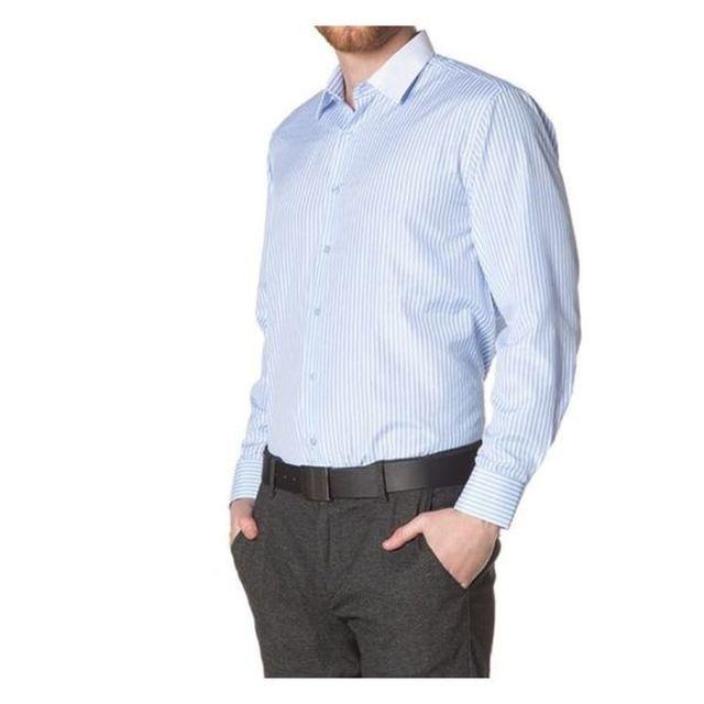 Georges Rech Chemise unie coupe semi slim avec intérieur col contrastant