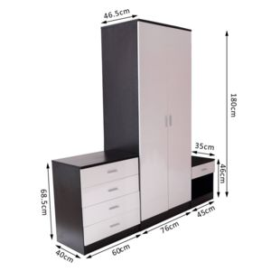 homcom ensemble meubles de chambre armoire penderie commode et chevet noir et blanc 88wt. Black Bedroom Furniture Sets. Home Design Ideas