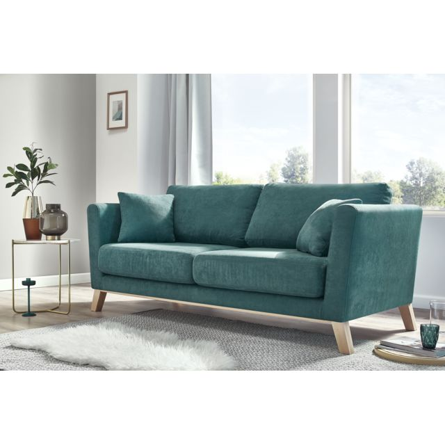 bobochic canape 3 places fixe doblo bleu canard 85cm x 186cm x 68cm achat vente canap s pas. Black Bedroom Furniture Sets. Home Design Ideas