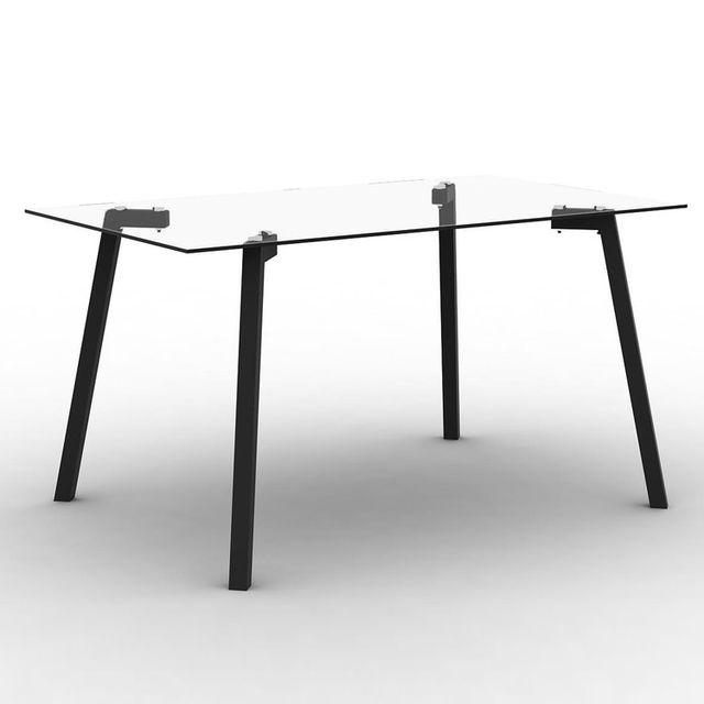 Marque Generique Table à manger en verre avec pieds métal Longueur 140 cm Tribor - Noir