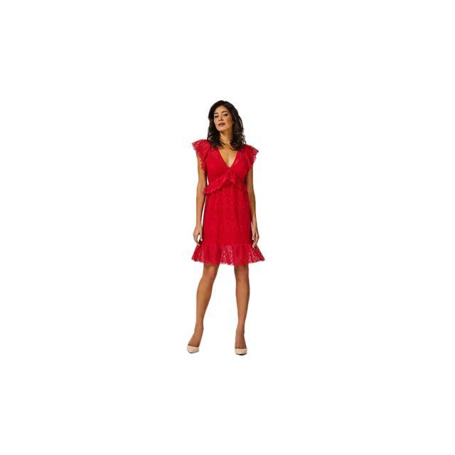 ROBE DENTELLE VOLANTS Guess en rouge pour femme | Galeries