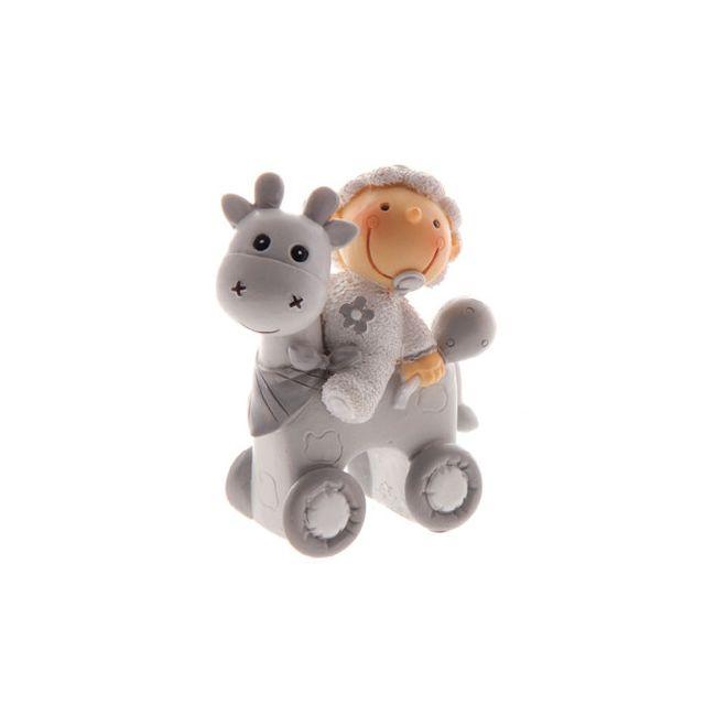 Autre Figurine baptême bébé avec vache gris 8 cm