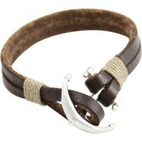 Metronhomme - Joli Bracelet Homme Barre Cuir Chocolat M H 352