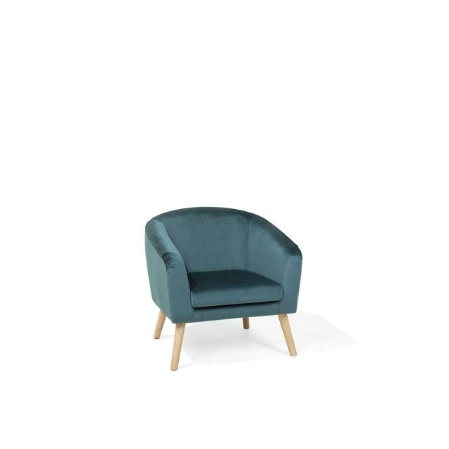 BELIANI Fauteuil en velours bleu-vert NAPPA - bleu