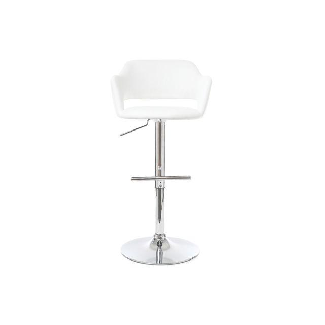Miliboo Tabouret de bar design blanc Jessy