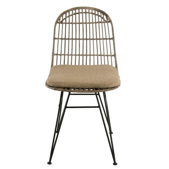 MACABANE Lot de 2 chaises urban rotinkubu et métal noir