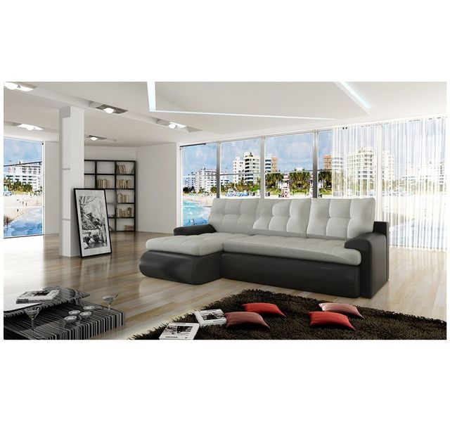 CHLOE DESIGN Canapé d'angle convertible Sina - Angle gauche - gris clair et noir