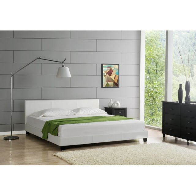 envie de meubles lit elise 140x190 cm simili cuir blanc pas cher achat vente structures. Black Bedroom Furniture Sets. Home Design Ideas