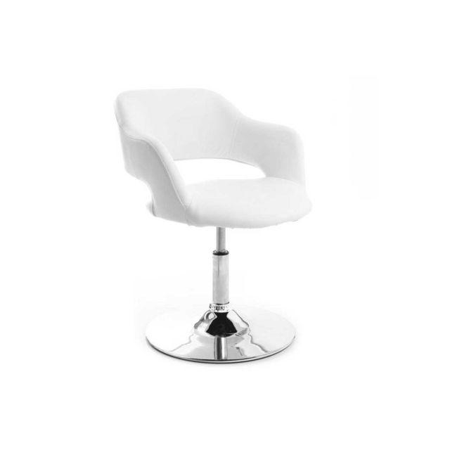 Miliboo Fauteuil pivotant design blanc Jessy