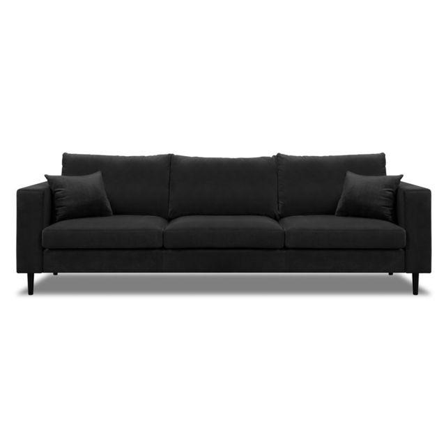 AXE DESIGN Canapé droit en velours et pieds bois GRAHAM - Noir
