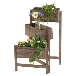 Mendler - Étagère / jardinière / étagère à plantes, shabby, vintage, hauteur : 65cm ~ marron