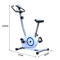 HOMCOM - Vélo d'appartement exercice fitness magnétique fonction cardio guidon réglable blanc et bleu neuf 68