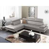 Linea Sofa - Canapé d'angle cuir luxe italien Effleurement - Gris - Angle gauche