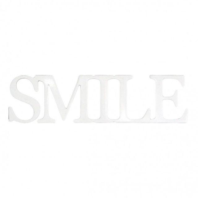 Mobili Rebecca Plaque Ecrit Decoration Smile Mur Table Bois Blanc Design Maison Bureau