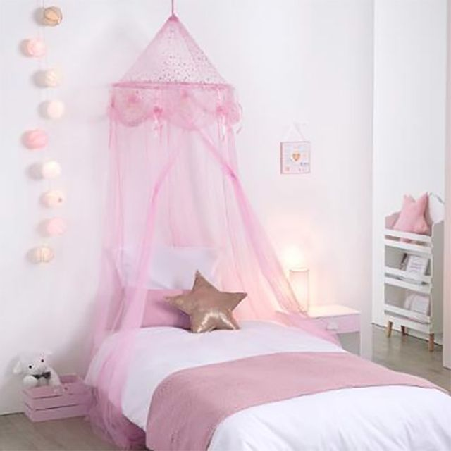 Touslescadeaux - Ciel de Lit Fille Princesse Rose avec étoiles - pas ...
