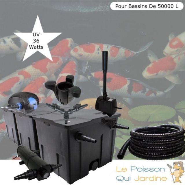 Le Poisson Qui Jardine Kit Filtration Complet, Uv 36W + Écumeur Et Fontaine, Pour Bassins De 50000 L