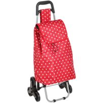 Promobo - Chariot De Courses Shopping A Roulettes 6 Roues Collection Everest Rouge