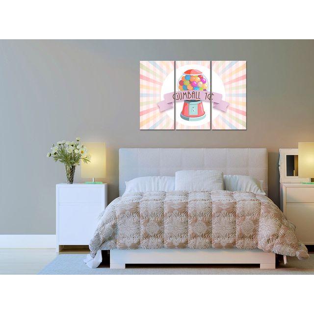 Declina - Tableau triptyque gumball déco rétro - Impression sur toile 80cm x 120cm