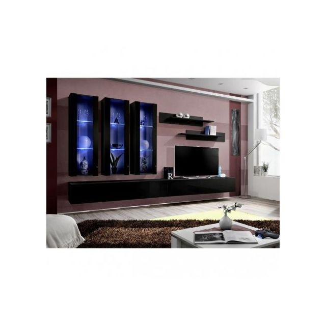 Price Factory Meuble Tv Fly E3 Design Coloris Noir Brillant