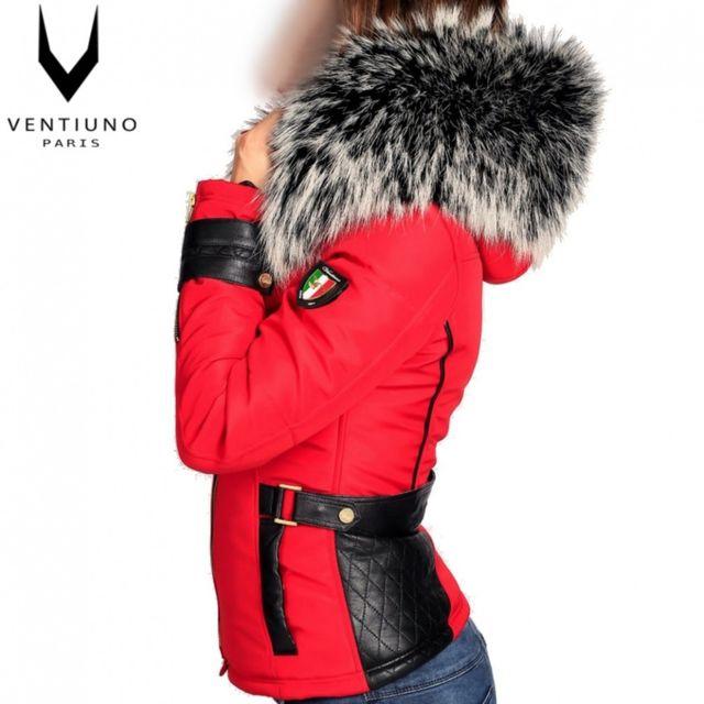 234e1f4190 Ventiuno - Perfecto Emily rouge Grosse fourrure de renard argent véritable  et cuir d'agneau-doudoune , fourrure, veste, doudoune, cuir, femme - pas  cher ...
