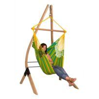 La Siesta - Chaise-Hamac Basic Sonrisa lime + Support en bois Vela