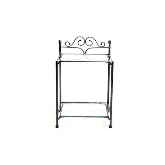 miliboo table de chevet baroque noire m tal victoria. Black Bedroom Furniture Sets. Home Design Ideas