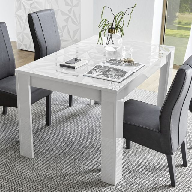 Table Blanc Laque Extensible.Table Extensible 137 Cm Blanc Laque Design Nino