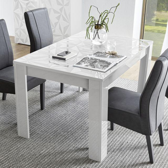 Sofamobili Table extensible 140 cm blanche laquée design Antonio