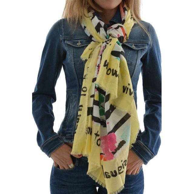 224826b4207 Desigual - Foulards foulard square marine jaune Taille Unique - pas cher  Achat   Vente Echarpes