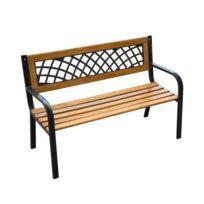HOMCOM - Banc banquette de jardin terrasse parc bois et acier meubles de jardin 3 places 118x56x73cm charge max 150kg 32