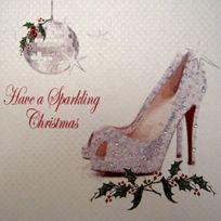 White Cotton Cards - Code Xx 14-38 Sparkling Ont Une Carte De NoËL Faite À La Main, Chaussure Brillante