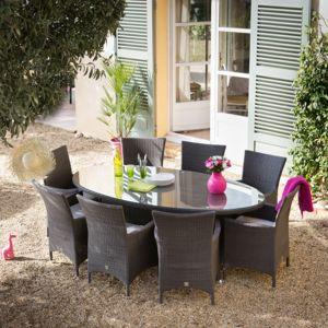 Greenpath salon jardin 8 places r sine tress e cacao table ovale 200cm 8 fauteuils ovalang - Table ronde en resine tressee ...