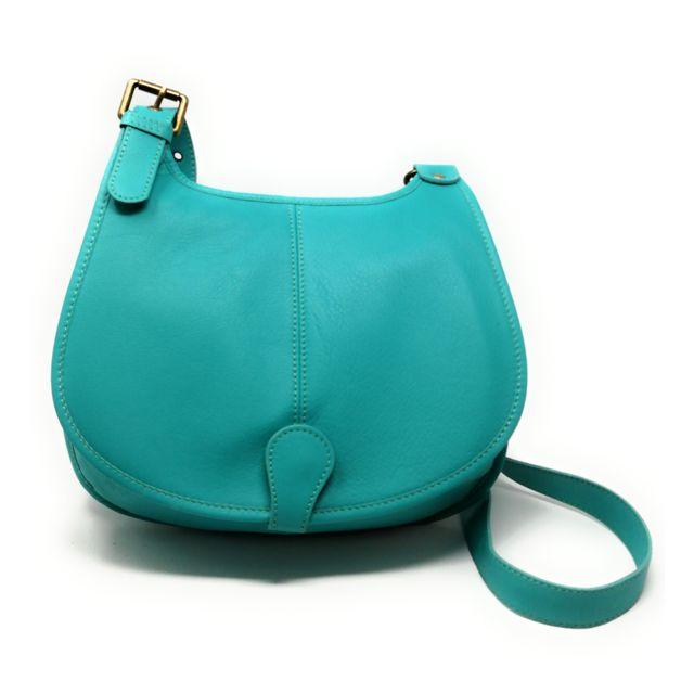 863029d6bb3be Oh My Bag - Sac à main besace cuir lisse style cartouchière Lagon ...