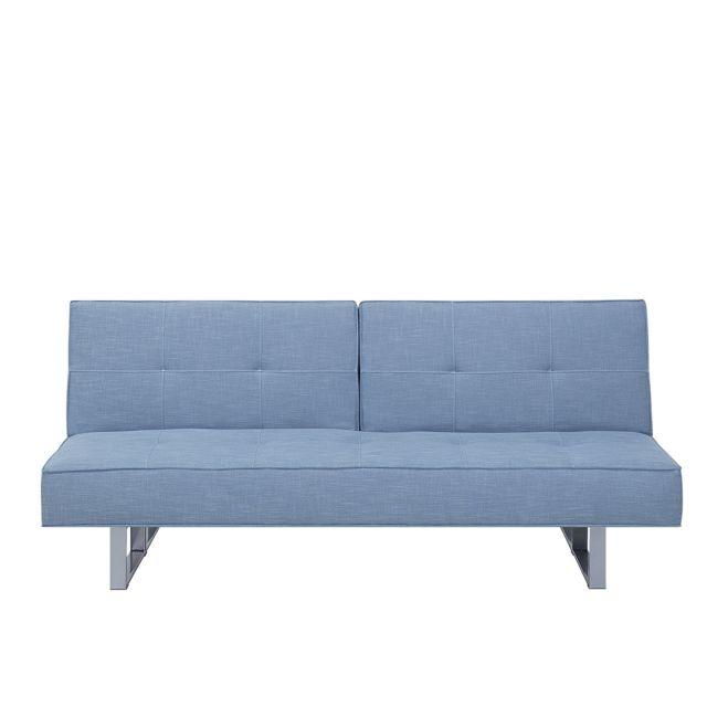 BELIANI Canapé clic-clac en tissu bleu DUBLIN