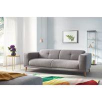 Canapé LUNA avec Pouf - Style Scandinave - Gris Clair - 93cm x 77cm x 225cm