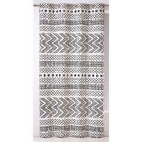Home Maison - Rideau à œillets tamisant coton rayure ethnique géométrique noir/blanc 140x260cm Etnikal