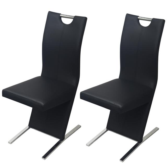 Vidaxl Chaises 2 pcs en cuir artificiel Noir