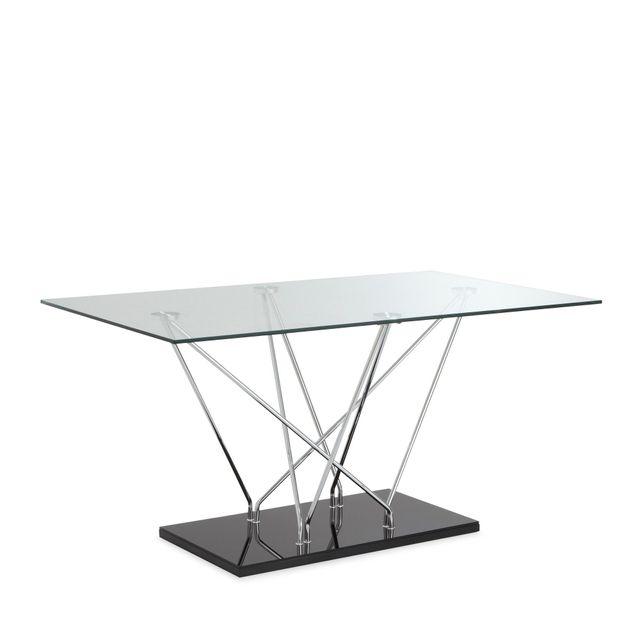 Alinéa Meli Table de repas rectangulaire en verre L150cm