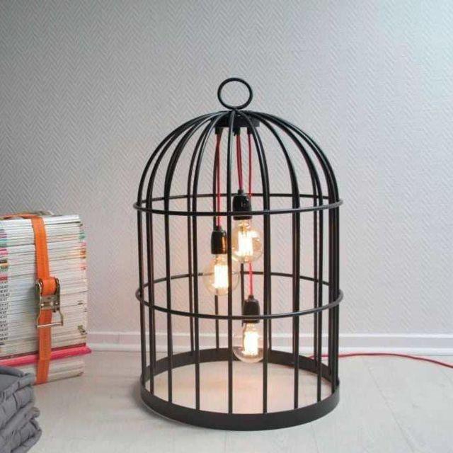 Rouge Poser Métal Xl H70cm Noir Laurent 3 Designé Lumières Maré Câble Lampe À Par Filaire Birdcage thdQrCs