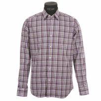 Gianni Ferrucci - Chemise homme cintrée à carreaux violets et gris à opposition blanche