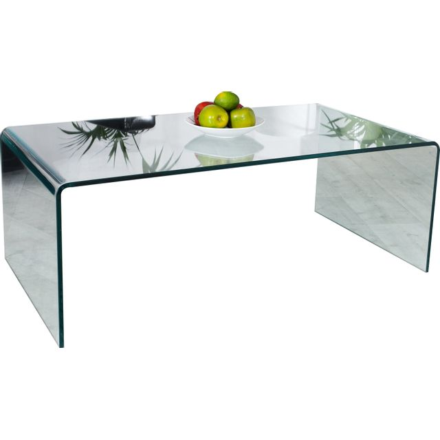 Comforium Table basse design en verre coloris transparent