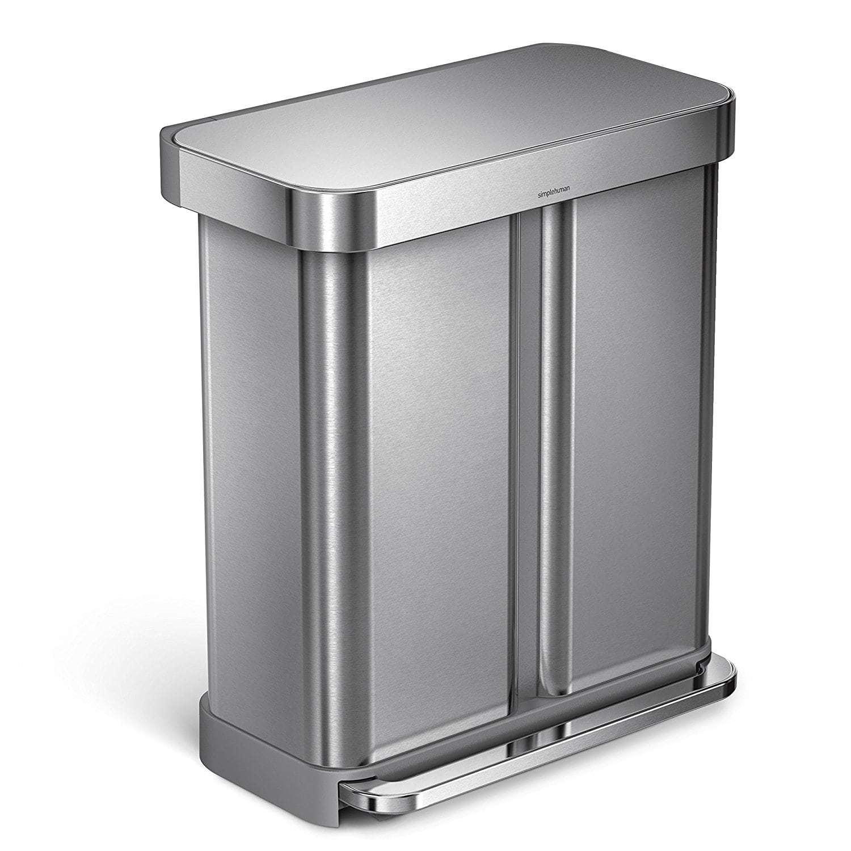 Poubelle de tri rectangulaire à pédale 2 compartiments 58L en acier inox - Inox